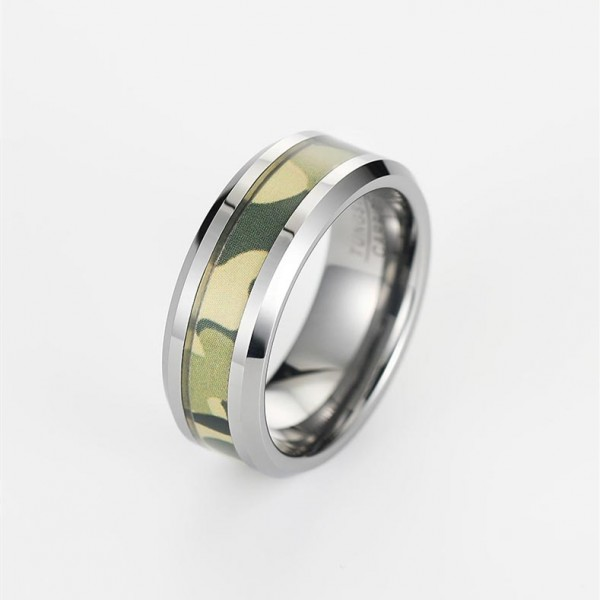 Engravable Camo Ring For Men In Tungsten