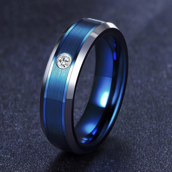 Engravable Cubic Zirconia Blue Frosted Tungsten Ring For Men