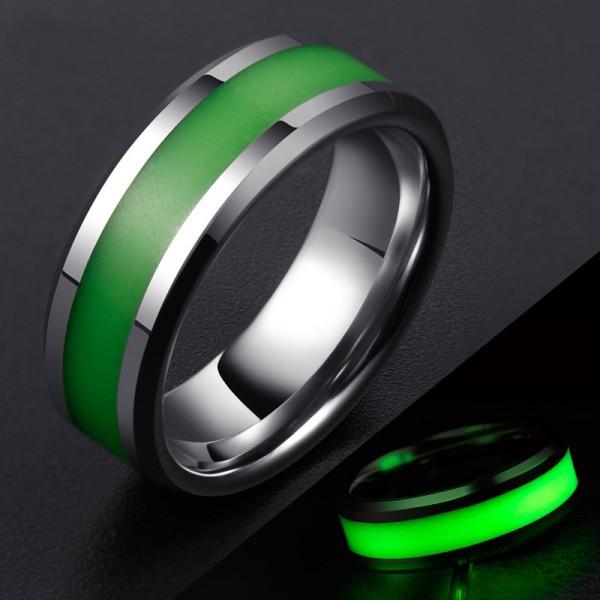Engravable Night-luminescent Pearl Wedding Band For Men In Tungsten