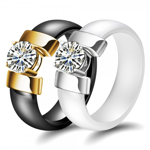 Personalized Solitaire Promise Ring For Couples In Ceramic