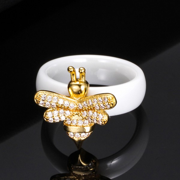 Personalized Honeybee Promise Ring For Women In Ceramic
