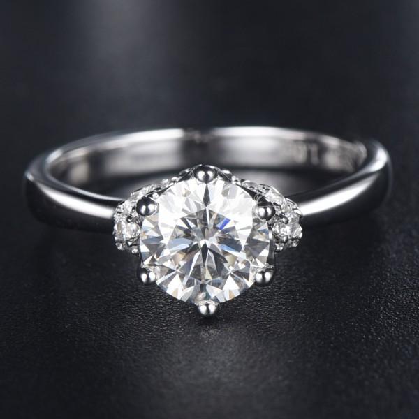 Engravable Cluster Moissanite Promise Ring For Women In Sterling Silver