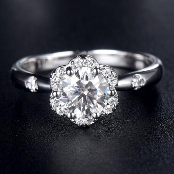 Engravable Halo Flower Moissanite Promise Ring For Women In Sterling Silver