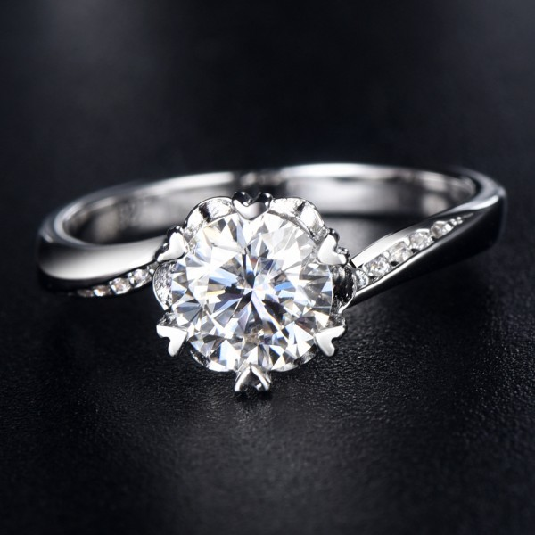 Engravable Twist Solitaire with Side Accent Moissanite Promise Ring For Women