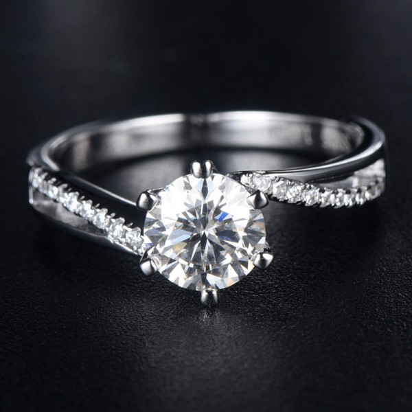 Engravable Twist Solitaire with Side Accent 1ct Moissanite Promise Ring For Women