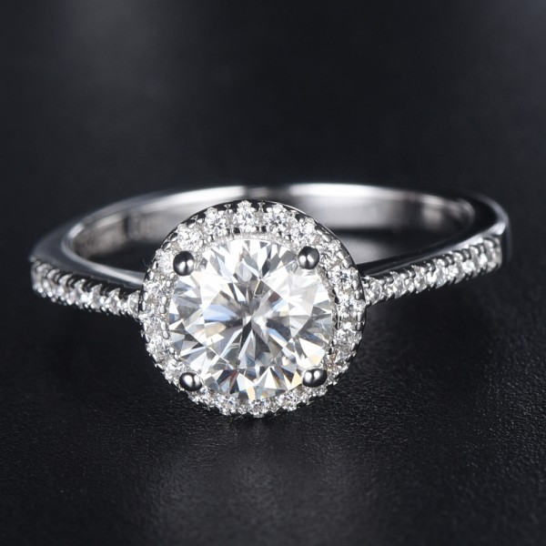 Engravable Halo 1ct Moissanite Promise Ring For Women In Sterling Silver