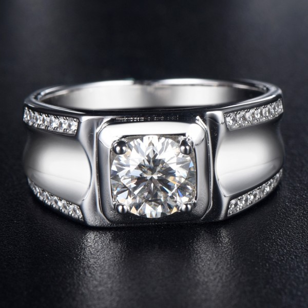 Engravable Solitaire with Side Accent Moissanite Promise Ring For Men In Sterling Silver