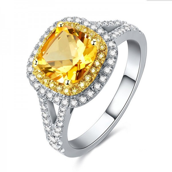 Engravable Halo Princess Cut Topaz Promise Ring For Women In Sterling Silver
