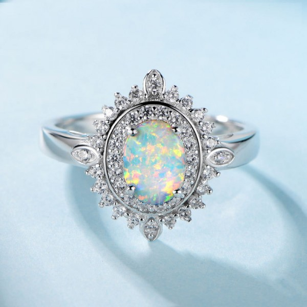 Engravable Oval Cut Opal Flower Promise Ring For Women In Sterling Silver
