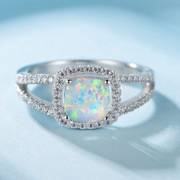 Engravable Princess Cut Opal Promise Ring For Women In Sterling Silver