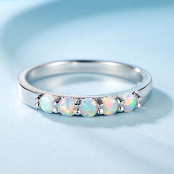 Engravable Round Cut Opal Promise Band For Women In Sterling Silver