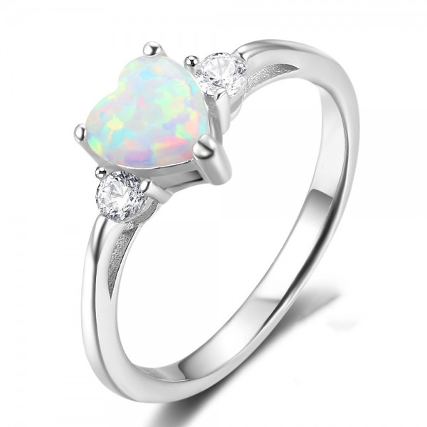 Engravable Heart Cut Opal Promise Ring For Women In Sterling Silver