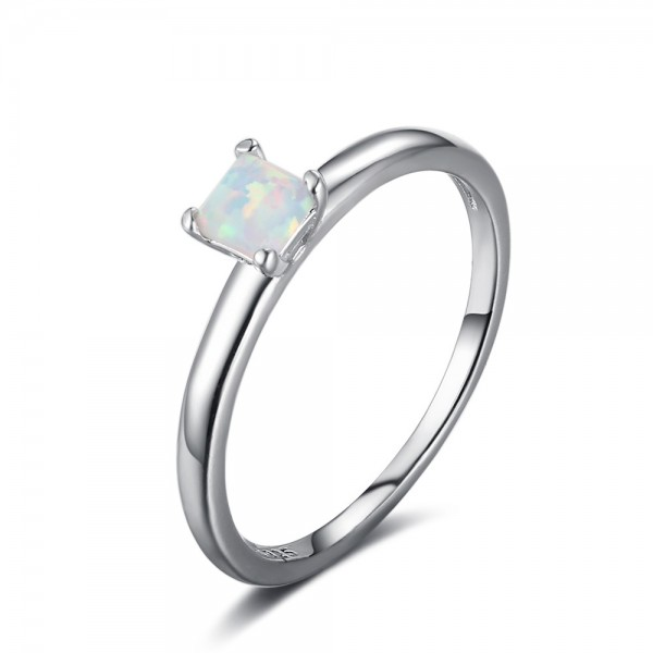 Engravable Princess Cut Opal Solitaire Promise Ring For Women In Sterling Silver