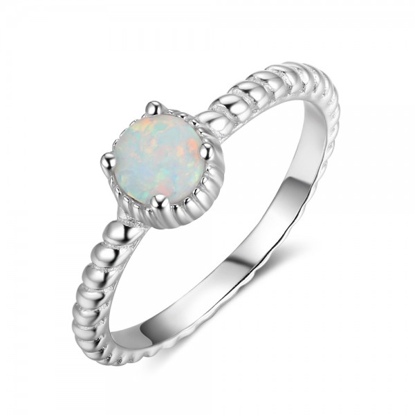 Engravable Solitaire Opal Promise Band For Women In Sterling Silver