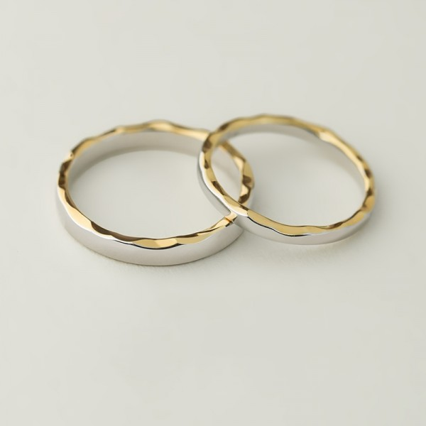 Engravable Sterling Silver Plated 14k Gold Wave Pattern Promise Rings For Couple
