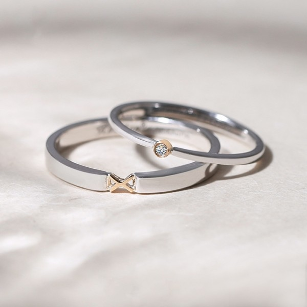 Engravable Sterling Silver Plated 18k Gold XO Promise Rings For Couple