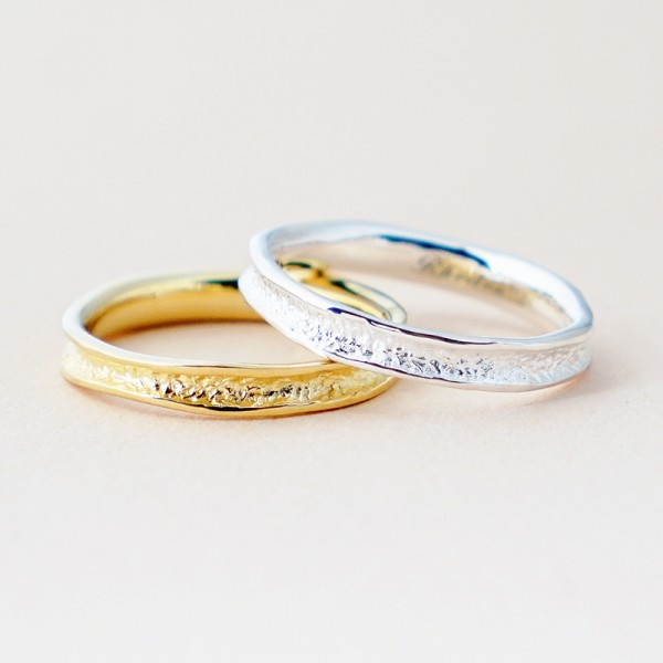Engravable Silver And Yellow Stone Texture Promise Band For Couple