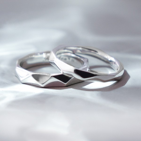 Engravable Geometric Promise Ring For Couples In Sterling Silver