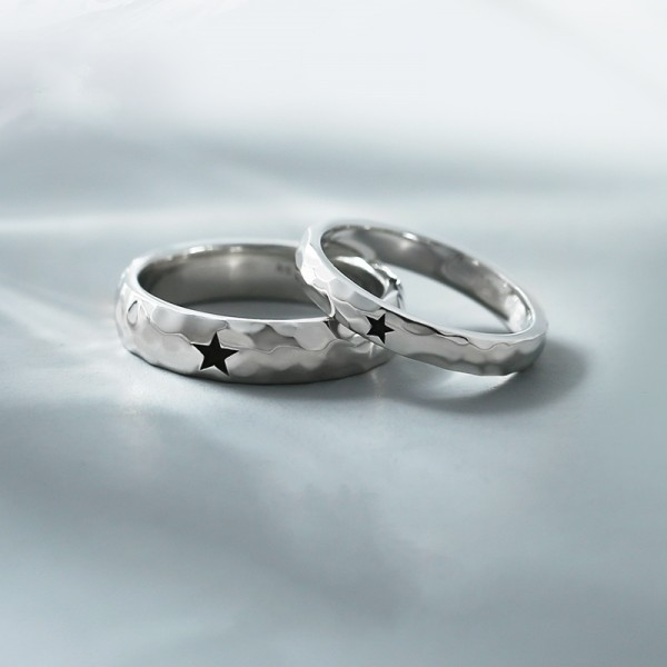 Engravable My Only Star Promise Band For Couples In Sterling Silver