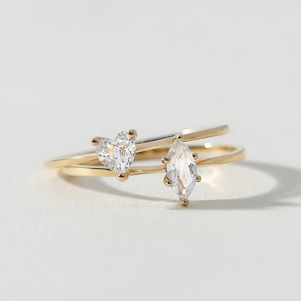 Engravable Heart Cut Solitaire Opal Promise Ring For Womens In 18K Yellow Gold