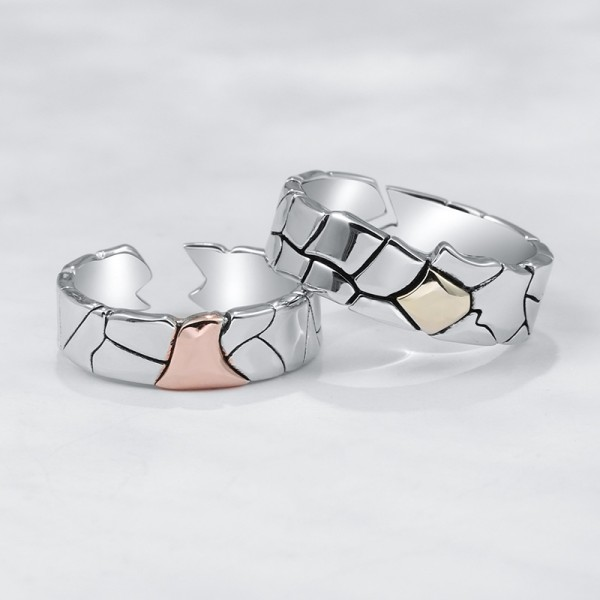 Engravable Dry Earth Promise Ring For Couple In Sterling Silver