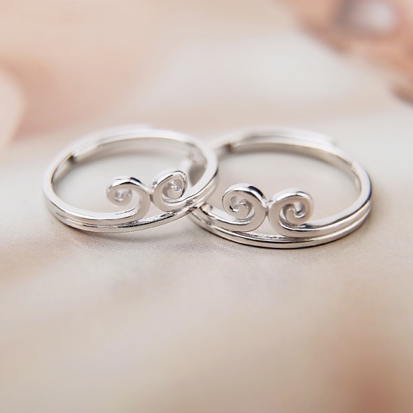 Engravable Simple Tiara Promise Ring For Couples In Sterling Silver