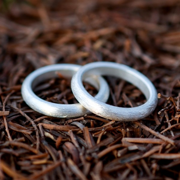 Engravable White Frosted Promise Band For Couples In Sterling Silver