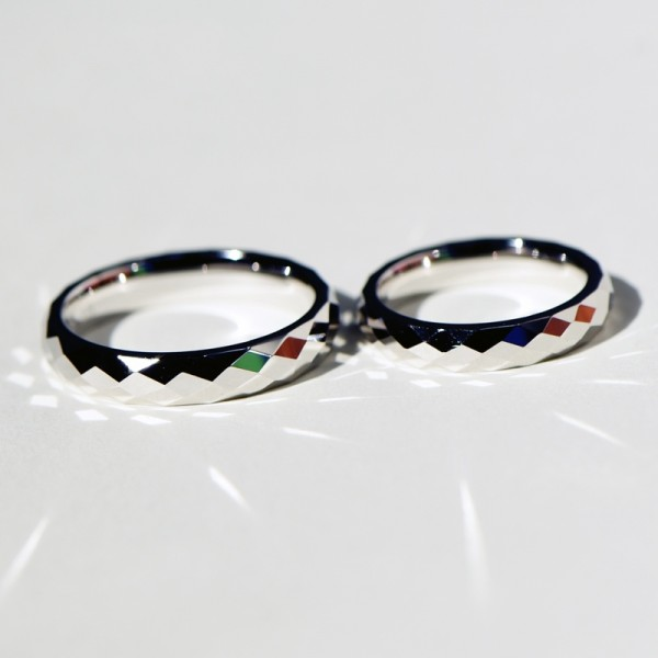 Engravable Rhombus Promise Band For Couples In Sterling Silver