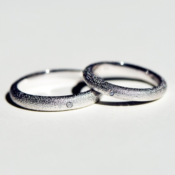 Engravable 0.01ct Diamond Frosted Promise Band For Couples In Sterling Silver