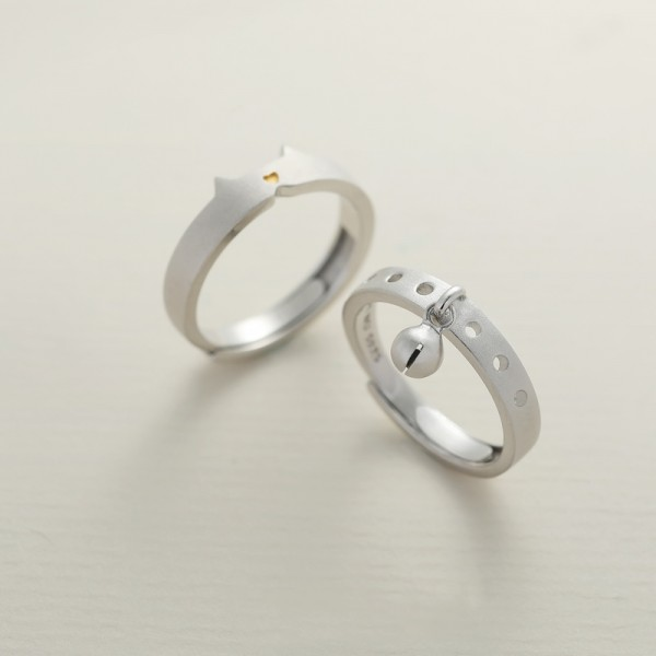 Adjustable Cat And Cat Bell Promise Ring For Couples In 925 Sterling Silver