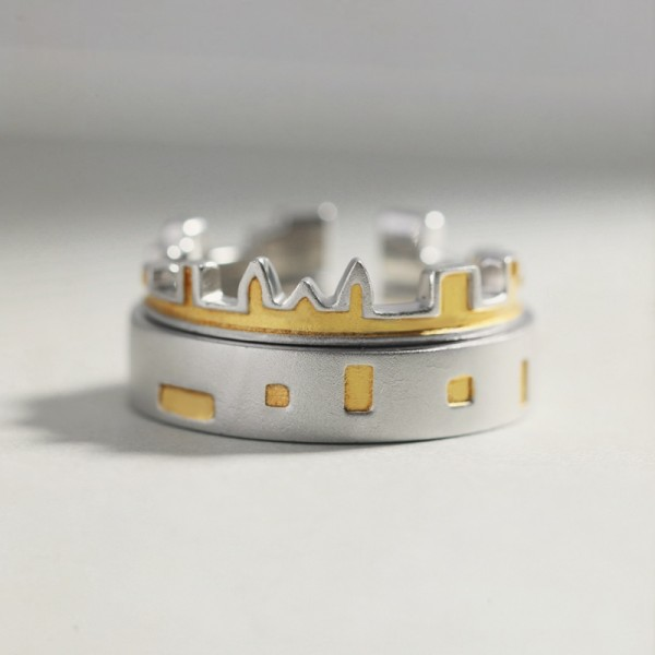 Adjustable Castle Matching Promise Ring For Couples In 925 Sterling Silver