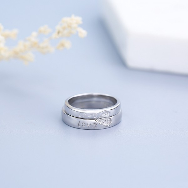 Adjustable Matching Heart Promise Ring For Couples In Sterling Silver