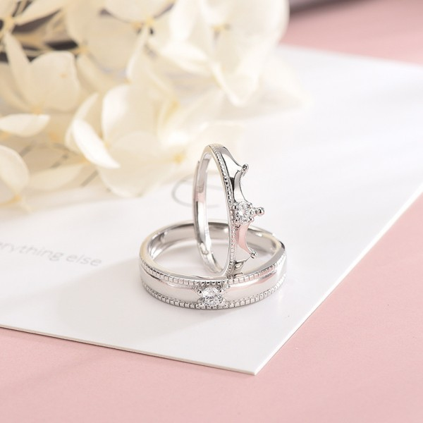 Engravable Crown Promise Ring For Couples In 925 Sterling Silver