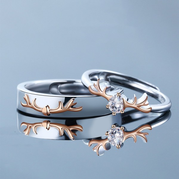 Adjustable Elk Promise Ring For Couples In Sterling Silver