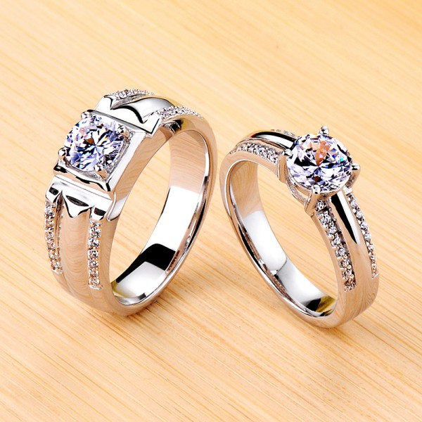 Engravable Solitaire with Side Accent Moissanite Couple Wedding Bands