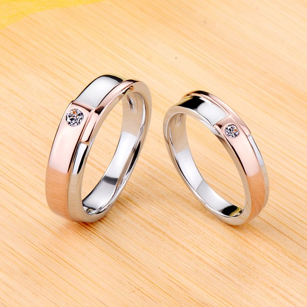 Engravable Simple Moissanite Couple Wedding Bands In Silver