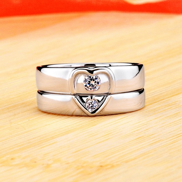 Personalized Matching Heart Moissanite Couple Wedding Rings In Silver