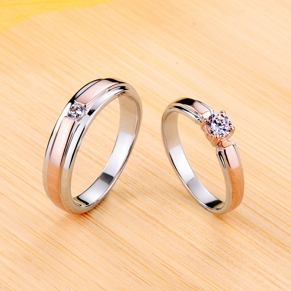 Engravable Solitaire Moissanite Wedding Rings For Couples In Silver