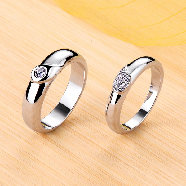 Personalized Angel Wings Moissanite Couple Wedding Bands In Silver