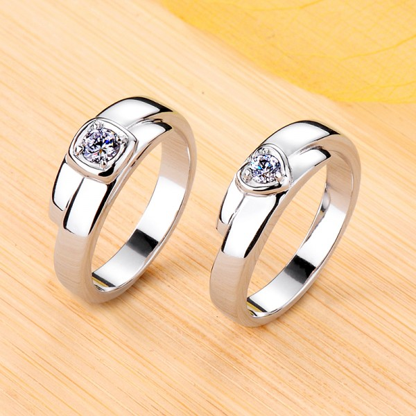 Personalized Heart Moissanite Wedding Bands For Couples In Silver