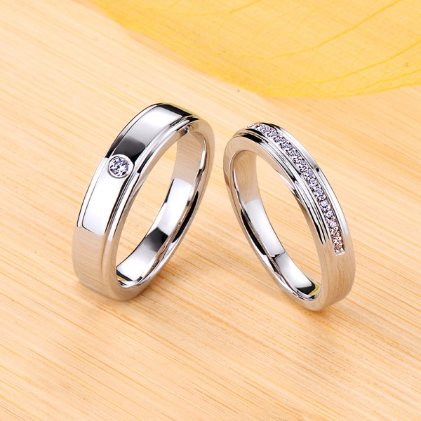 Engravable Simple Moissanite Wedding Bands For Couples In Silver