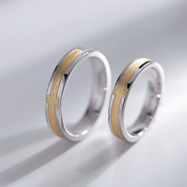 Original Cross Wedding Rings For Couples In Silver plated 18K Gold