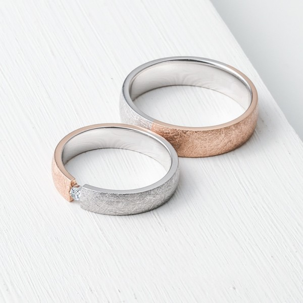 Original Wrinkle Wedding Rings For Couples In Silver plated 18K Gold