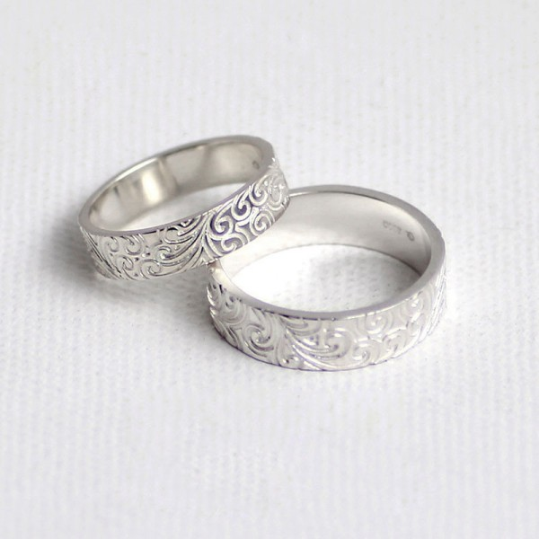 Original Vine Promise Rings For Couples In Sterling Silver