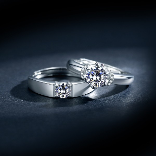 Engravable Solitaire Promise Rings For Couples In Sterling Silver