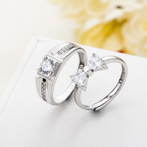 Personalized Adjustable Promise Rings For Couples In Sterling Silver