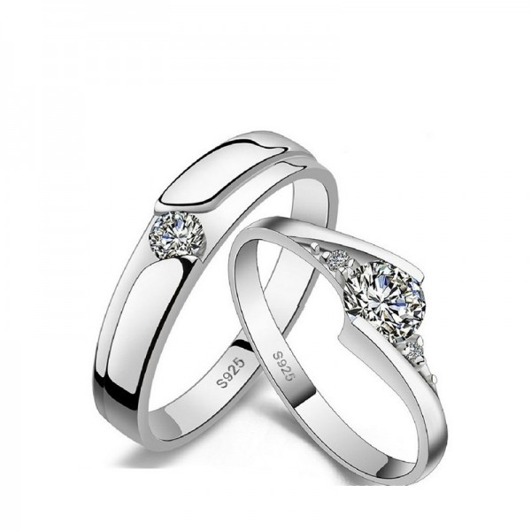 Adjustable Cubic Zirconia Promise Rings For Couples In Sterling Silver