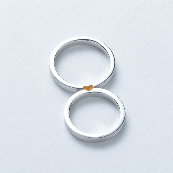 Engravable Matching Heart Promise Rings In Sterling Silver
