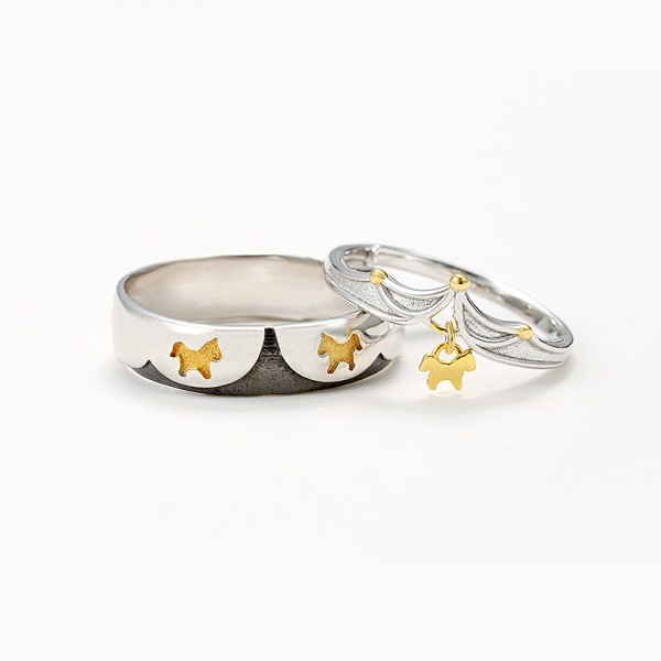 Adjustable Merry Go Round Promise Rings For Couples In Sterling Silver