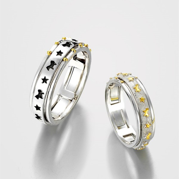 Engravable Merry Go Round Promise Rings For Couples In Sterling Silver